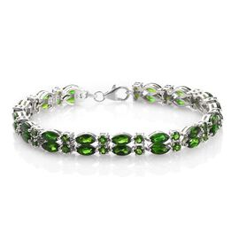 15.97 Ct Russian Diopside Tennis Bracelet in Platinum Plated Silver 7.5 Inch