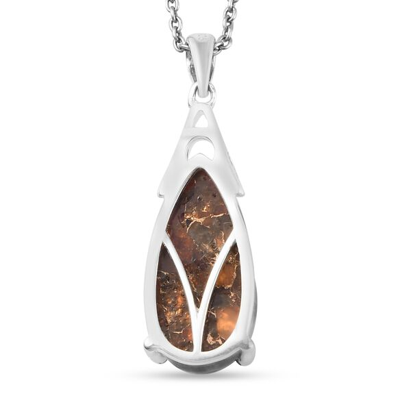 MP - Fire Opal Matrix (Pear 20x10 mm) Solitaire Drop Pendant in Sterling Silver 6.84 Ct.