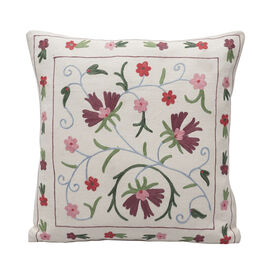 Assots London Hand Made 100% Cotton Embroidered Cushion Cover (Size 45x45cm) - Pink & Purple