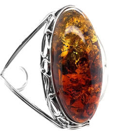 Natural Baltic Amber Bracelet (Size 7.5) in Sterling Silver, Silver wt 25.69 Gms