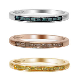 Set of 3 - Champagne, Blue and Yellow Diamond Half Eternity Ring in Rose Gold Overlay Sterling Silve