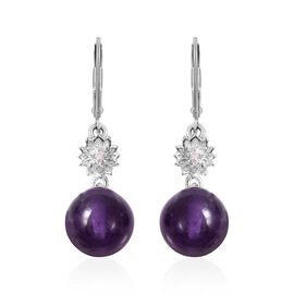 Amethyst (Rnd), Natural White Cambodian Zircon Lever Back Earrings in Rhodium Overlay Sterling Silve