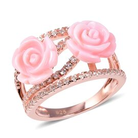 Jardin Collection - Peach Mother of Pearl and Natural White Cambodian Zircon Ring in Rose Gold Overl
