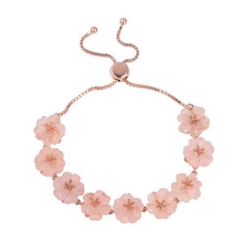 Jardin Collection Rare Hand Carved Morganite Floral Bracelet in Rose Gold Plated Silver 42.5 Ct