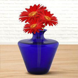 Made In Italy - Authentic Murano Pot Shape Glass Vase - Royal Blue