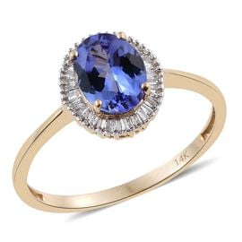 NY Collection 2.25 Ct AA Tanzanite and Diamond Halo Ring in 14K Gold
