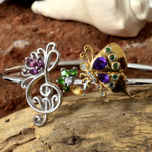GP Amethyst, Rhodolite Garnet, Natural White Cambodian Zircon and Multi Gemstone Butterfly Bangle (Size 7.5)  in Platinum and Yellow Gold Overlay Sterling Silver 1.500 Ct, Silver wt 14.04 Gms.