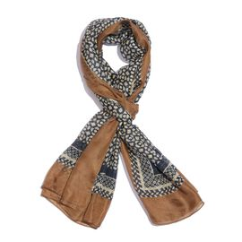100% Mulberry Silk Chocolate, Navy and White Colour Handscreen Printed Scarf (Size 200X180 Cm)