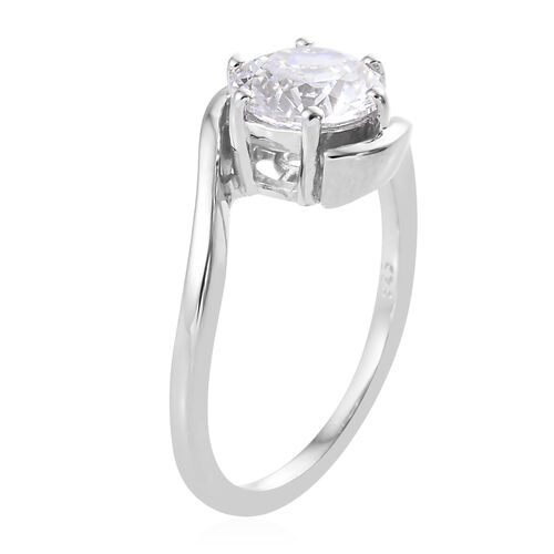 J Francis Platinum Overlay Sterling Silver (Rnd) Solitaire Ring Made with SWAROVSKI ZIRCONIA, Carat wt 1.67 Ct.