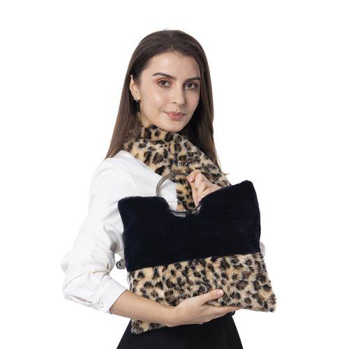 Super Auction-Leopard Skin Pattern Faux Fur Handbag (Size 34x30 Cm) and Scarf (Size 10x92Cm)