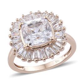 J Francis Made with Swarovski Zirconia Halo Ring in 9K Gold 2.91 Grams