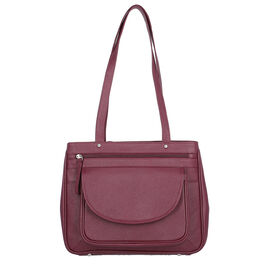 Super Soft 100% Genuine Nappa Leather Multi-Compartment Shoulder Bag in Burgundy (29x7.5x23cm)