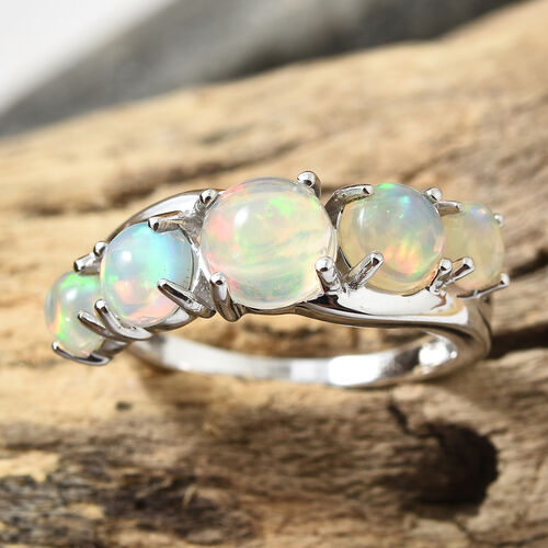 9K White Gold AA Ethiopian Welo Opal (Rnd) Ring 1.500 Ct.