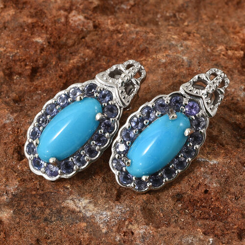 Arizona Sleeping Beauty Turquoise (Ovl), Iolite Earrings (with Push Back) in Platinum Overlay Sterling Silver 4.500 Ct. Silver wt 5.22 Gms.