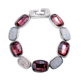 Simulated Purple Spinel, Simulated Mystic White Crystal Bracelet (Size 7) in Silver Tone