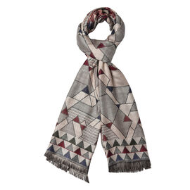 Triangle Pattern Scarf with Short Tassels (Size 65x190 Cm) - Taupe and Multi