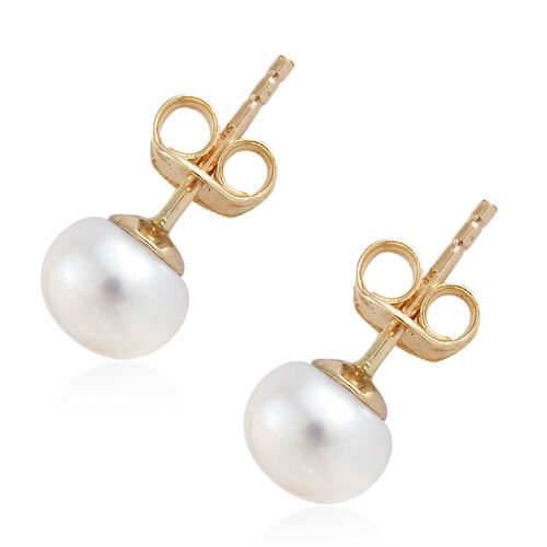 9K Yellow Gold Fresh Water Pearl (Rnd 7mm)  Earrings