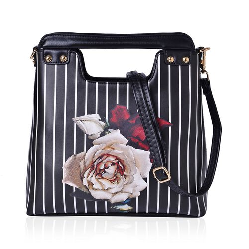 MILANO COLLECTION Perlita Floral Pattern Tote Bag with External Zipper Pocket and Adjustable, Removable Shoulder Strap (Size 30x24x11 Cm)