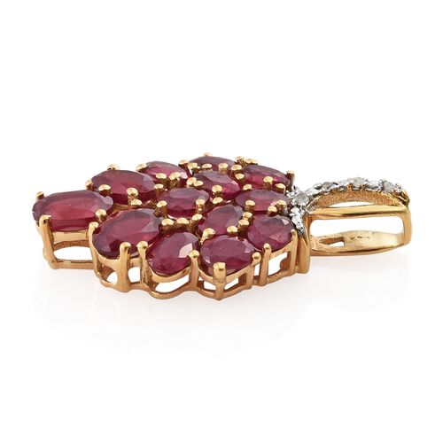 4.50 Ct African Ruby and Diamond Cluster Pendant in Gold Plated Silver
