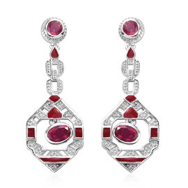 African Ruby Enamelled Dangle Earrings (with Push Back) in Platinum Overlay Sterling Silver 1.50 Ct,
