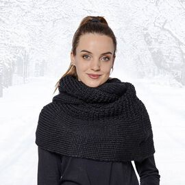 Solid Black Infinity Knit Scarf (Size 32x70cm)