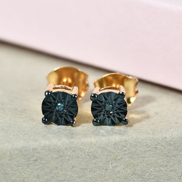 Teal Blue Diamond Stud Earrings (with Push Back) in 14K Gold  Overlay Sterling Silver.