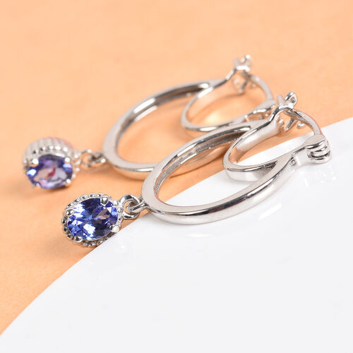 AAA Tanzanite Drop Earrings (with Clasp) in Platinum Overlay Sterling Silver