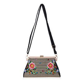 Embroidered Flower Pattern Clutch Bag with Detachable and Adjustable Shoulder Strap (Size 26.5x14x5