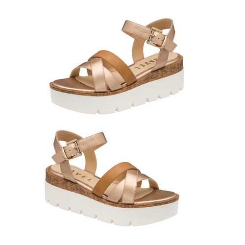 Ravel Monto Flatform Sandals (Size 4) - Rose Gold and Tan