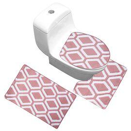 3 Piece Set - Anti-Slip Bathmat (50x80cm), Toilet Seat Cover (40x50cm) and Contour Mat (39x48cm) - D