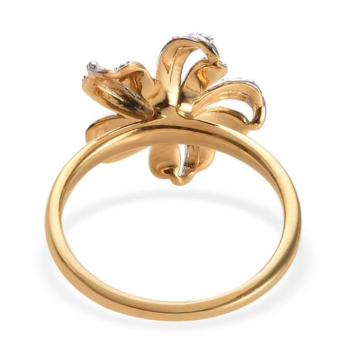 Diamond Lily Flower Ring in 14K Gold Overlay Sterling Silver