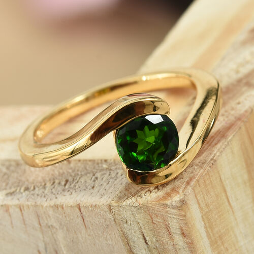 Russian Diopside (Rnd) Ring in Yellow Gold Vermeil Sterling Silver 1.000 Ct.