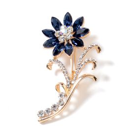 Simulated Blue Sapphire (Mrq), White and Magic Colour Austrian Crystal Flower Brooch in Yellow Gold Tone