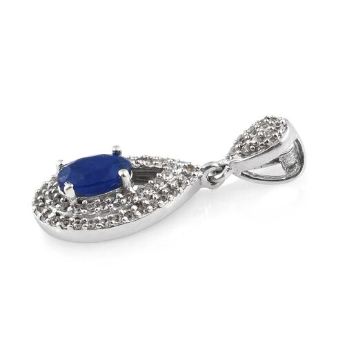 1.25 Ct Very Rare Blue Spinel and Natural White Cambodian Zircon Drop Pendant in Platinum Plated Silver