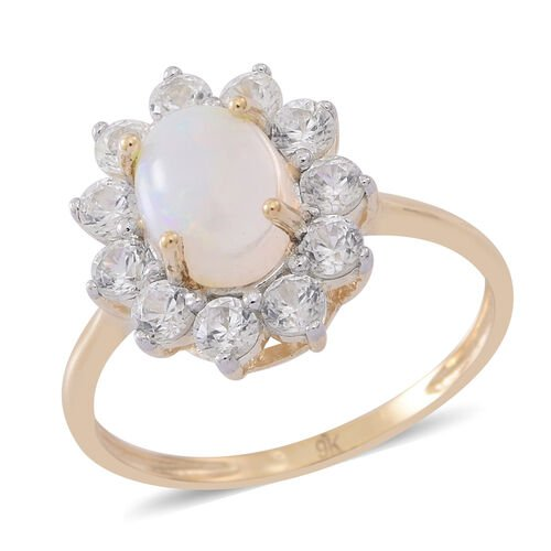 9K Yellow Gold Ethiopian Welo Opal (Ovl 1.00 Ct), Natural Cambodian Zircon Floral Ring 2.250 Ct.
