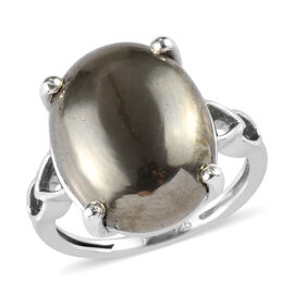 10 Carat Pyrite Solitaire Ring in Platinum Plated Silver
