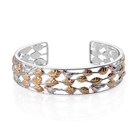 Platinum, Yellow and Rose Gold Overlay Sterling Silver Robin Bird Cuff Bangle (Size 7.5), Silver wt