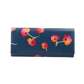 SUKRITI 100% Genuine Leather Poppy Wallet (Size 21.59x11.43cm) - Blue