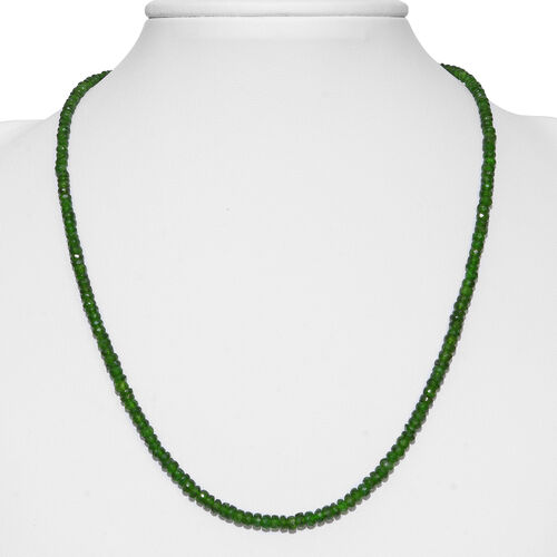 One Time Deal- Russian Diopsode (Rnd) Beads Necklace (Size 18 and Half inch Extender) in Rhodium Overlay Sterling Silver 50.000 Ct.