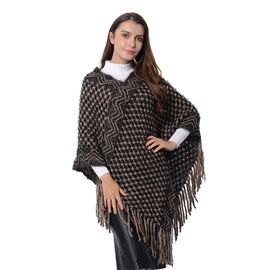 Checker, and Wave Pattern Poncho with Tassels (Size 80x65 Cm) Black and Beige Colour