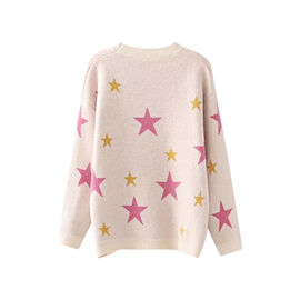 Kris Ana Star Print Wool Jumper One Size (8-16) - Pink