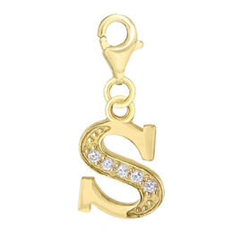 AAA Simulated Diamond S Initial Charm in Yellow Gold Overlay Sterling Silver.