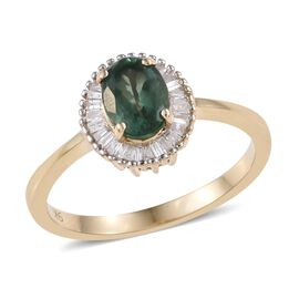 Teal Apatite (0.90 Ct) and Diamond 9K Y Gold Ring  1.100  Ct.