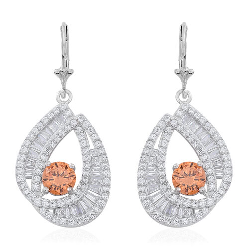 Signature Collection-ELANZA AAA Simulated Champagne Diamond (Rnd), Simulated White Diamond Lever Back Earrings in Rhodium Plated Sterling Silver. Silver WT 7.25 Gms