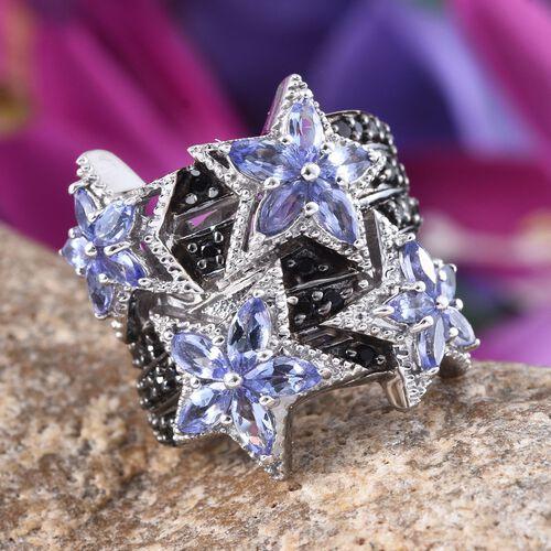 GP Boi Ploi Black Spinel (Rnd 2.00 Ct), Tanzanite and Kanchanaburi Blue Sapphire Star Ring in Platinum Overlay Sterling Silver 4.920 Ct.