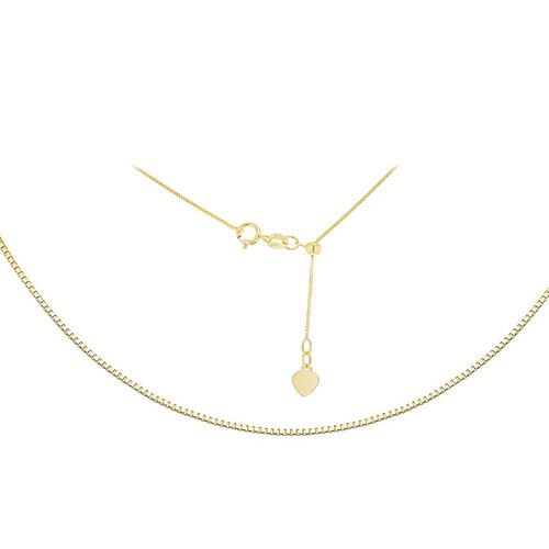 ILIANA 18K Yellow Gold Adjustable Heart Slider Box Chain (Size 16 - 22 Inch)