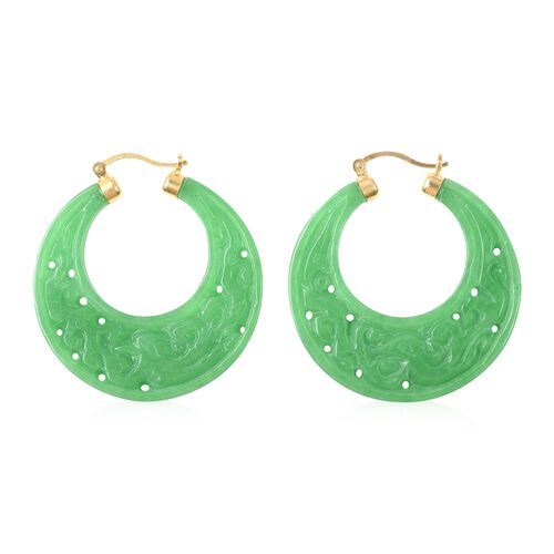Carved Green Jade Hoop Earrings (with Clasp) in Yellow Gold Overlay Sterling Silver 91.00 Ct.