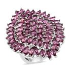 Lotus Garnet (Mrq) Cluster Ring (Size N) in Platinum Overlay Sterling Silver 10.750 Ct, Silver wt 9.07 Gms