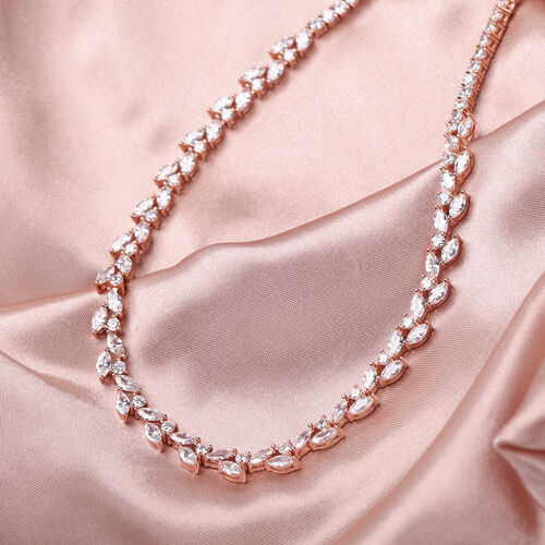 ELANZA Simulated Diamond Necklace (Size 18) in Rose Gold Overlay Sterling Silver 22.92 Ct, Silver wt 23.62 Gms