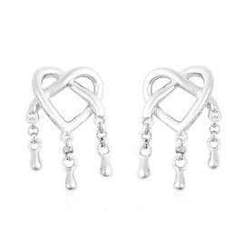 LucyQ Entwined Heart Three Drip Earrings (with Push Back) in Rhodium Overlay Sterling Silver